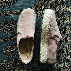 Sam Edelman Carrin Blush Pink Suede Espadrilles